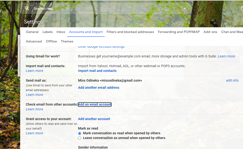 Add another email to gmail screen