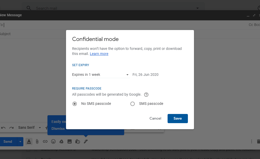 Confidential Mode of Gmail Set