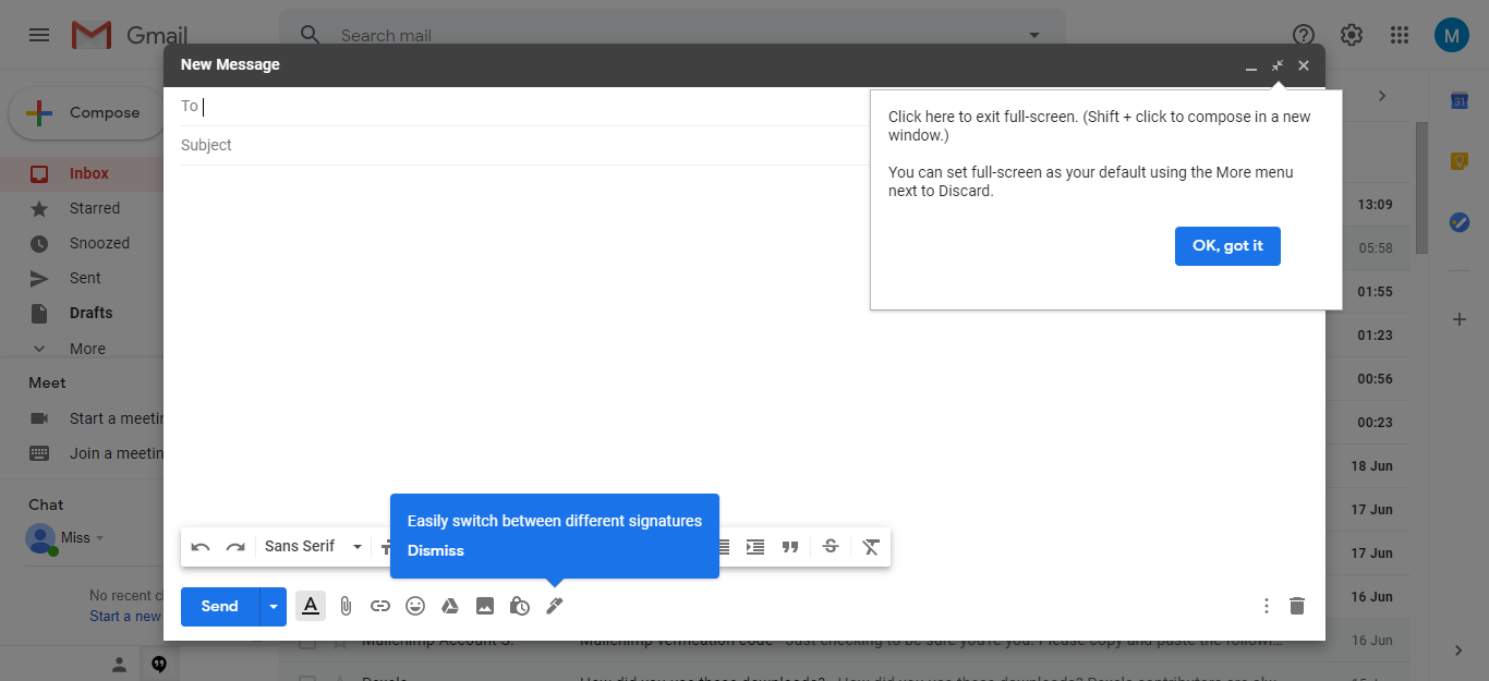 gmail signature page
